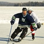 Door County Pond Hockey scene