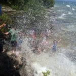 Cave Point splashing!